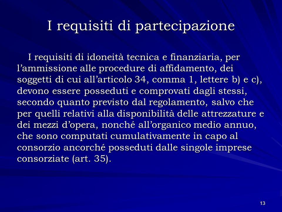 I requisiti di partecipazione I requisiti di idoneità tecnica e finanziaria, per lammissione alle procedure di affidamento, dei soggetti di cui allart