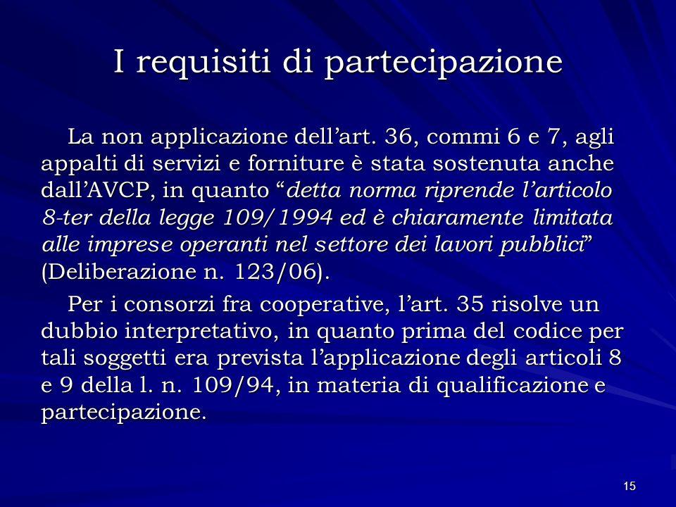 I requisiti di partecipazione La non applicazione dellart. 36, commi 6 e 7, agli appalti di servizi e forniture è stata sostenuta anche dallAVCP, in q
