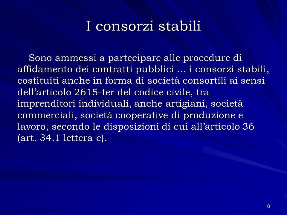 I consorzi stabili Sono ammessi a partecipare alle procedure di affidamento dei contratti pubblici … i consorzi stabili, costituiti anche in forma di