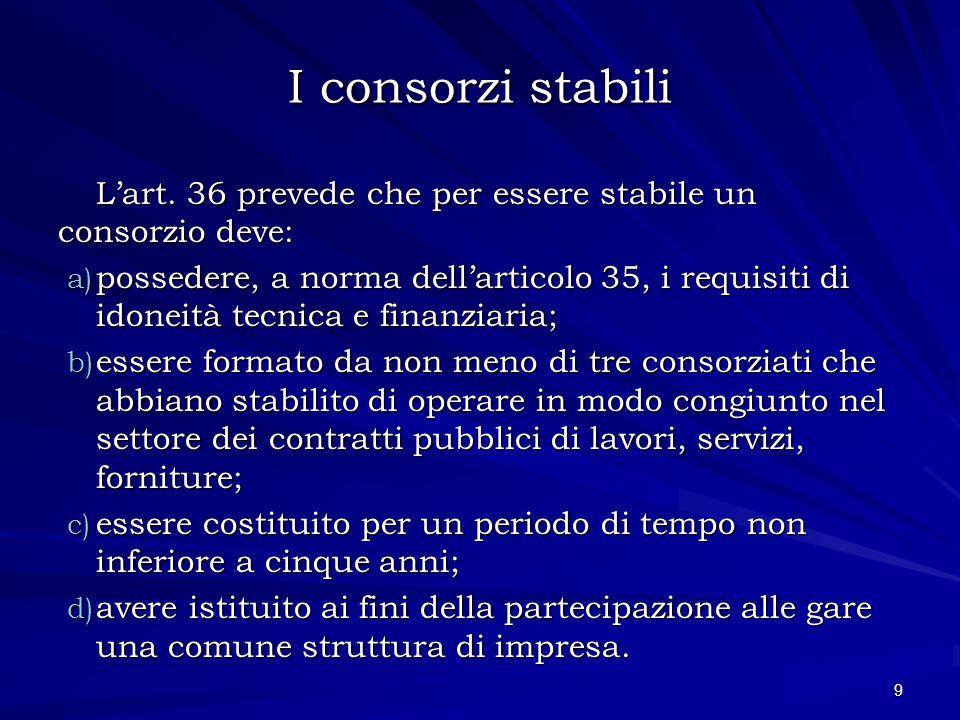 I consorzi stabili Lart. 36 prevede che per essere stabile un consorzio deve: a) possedere, a norma dellarticolo 35, i requisiti di idoneità tecnica e