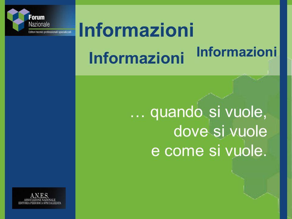 Informazioni … quando si vuole, dove si vuole e come si vuole. Informazioni