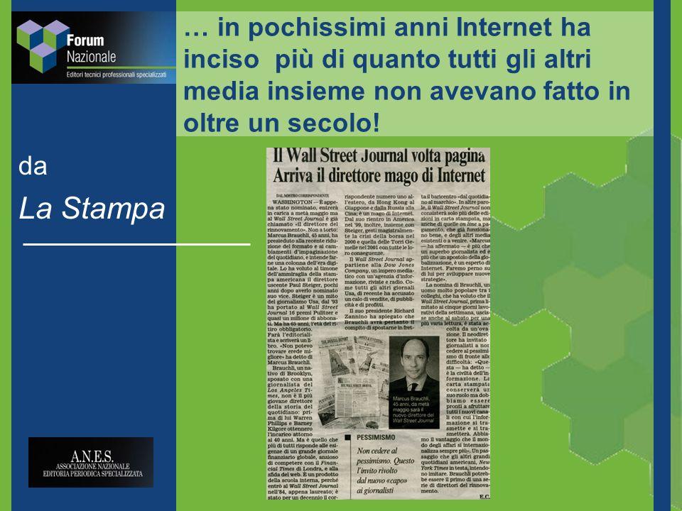 … in pochissimi anni Internet ha inciso più di quanto tutti gli altri media insieme non avevano fatto in oltre un secolo.