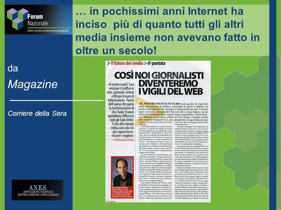 da Magazine Corriere della Sera … in pochissimi anni Internet ha inciso più di quanto tutti gli altri media insieme non avevano fatto in oltre un secolo!