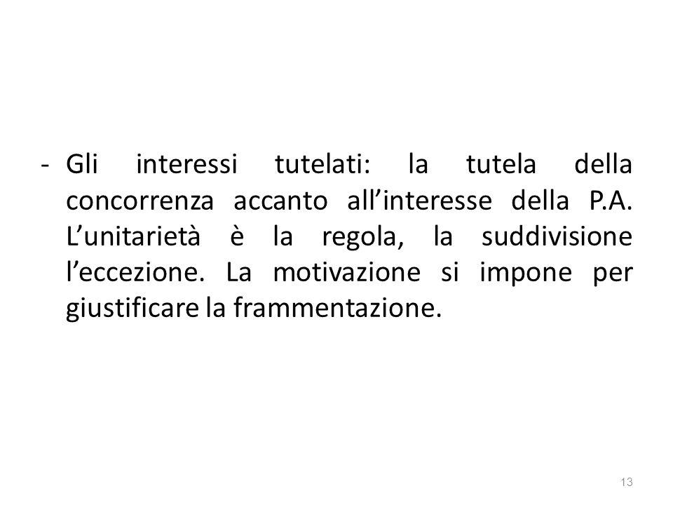 -Gli interessi tutelati: la tutela della concorrenza accanto allinteresse della P.A.