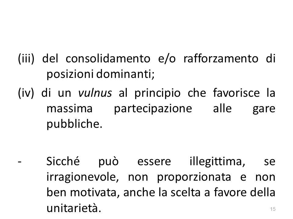 (iii) del consolidamento e/o rafforzamento di posizioni dominanti; (iv) di un vulnus al principio che favorisce la massima partecipazione alle gare pubbliche.