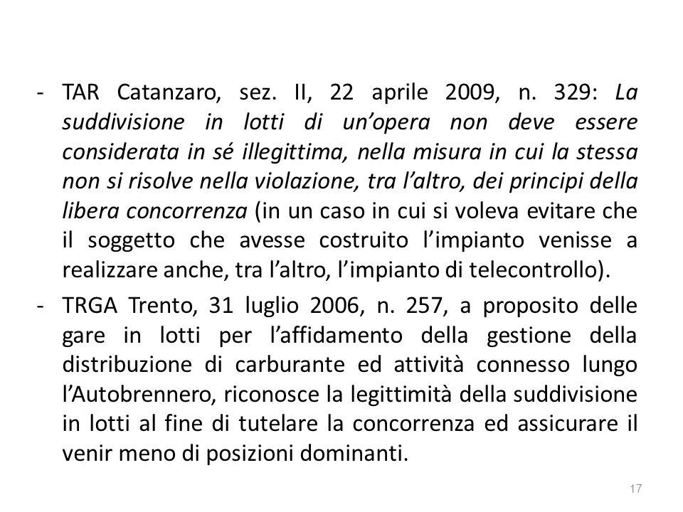 -TAR Catanzaro, sez. II, 22 aprile 2009, n.