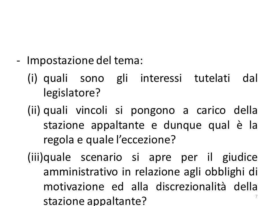 -Impostazione del tema: (i)quali sono gli interessi tutelati dal legislatore.
