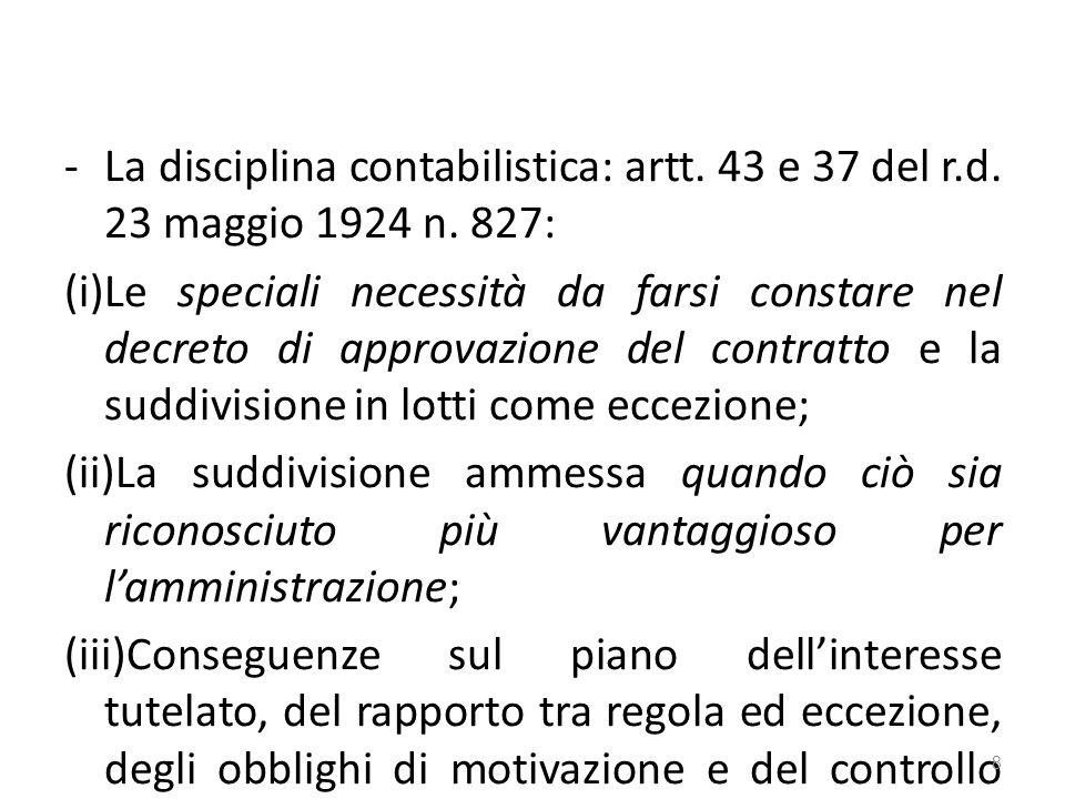 -La disciplina contabilistica: artt. 43 e 37 del r.d.