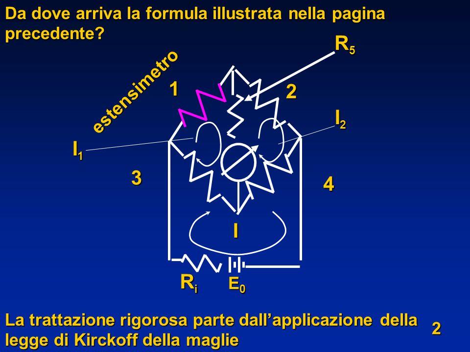 Da dove arriva la formula illustrata nella pagina precedente? La trattazione rigorosa parte dallapplicazione della legge di Kirckoff della maglie I1I1