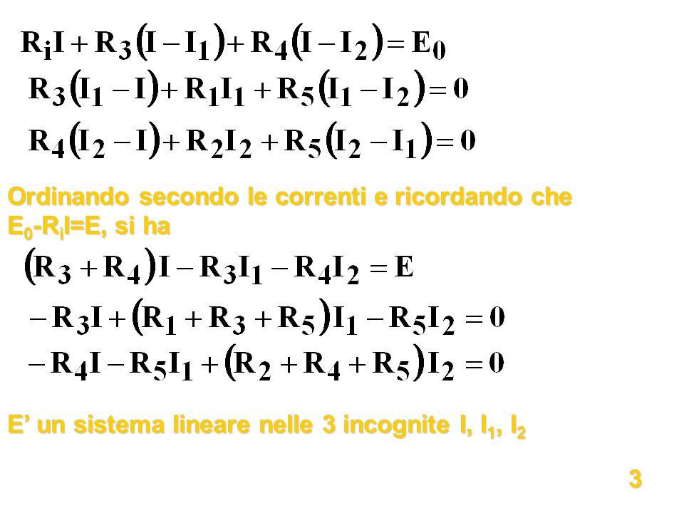 Ordinando secondo le correnti e ricordando che E 0 -R i I=E, si ha E un sistema lineare nelle 3 incognite I, I 1, I 2 3