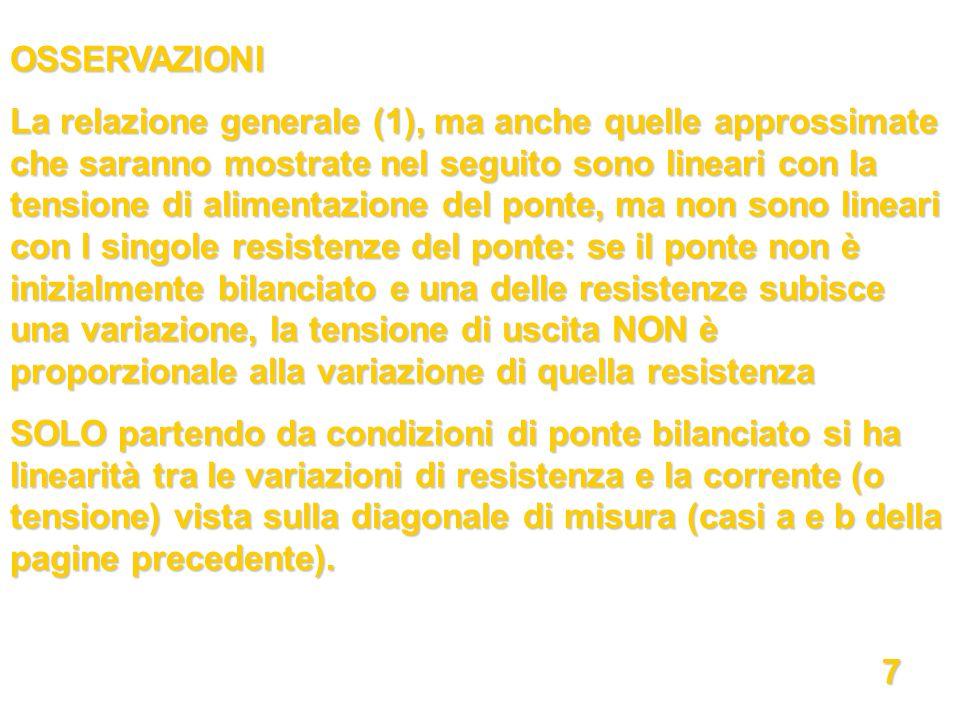 OSSERVAZIONI La relazione generale (1), ma anche quelle approssimate che saranno mostrate nel seguito sono lineari con la tensione di alimentazione de