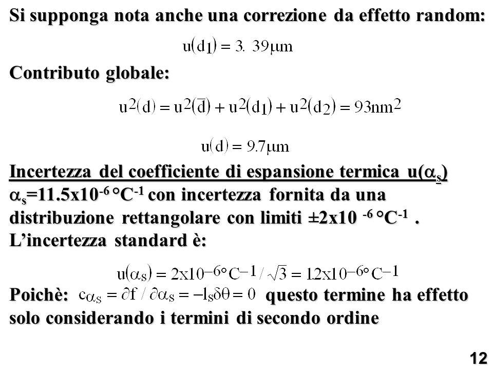 Si supponga nota anche una correzione da effetto random: Contributo globale: Incertezza del coefficiente di espansione termica u( s ) s =11.5x10 -6 °C
