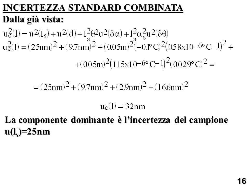 INCERTEZZA STANDARD COMBINATA Dalla già vista: La componente dominante è lincertezza del campione u(l s )=25nm 16
