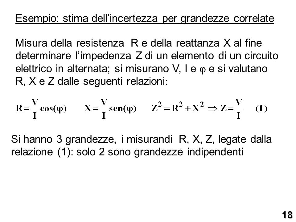 Esempio: stima dellincertezza per grandezze correlate Misura della resistenza R e della reattanza X al fine determinare limpedenza Z di un elemento di