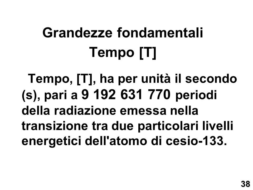 Tempo, [T], ha per unità il secondo (s), pari a 9 192 631 770 periodi della radiazione emessa nella transizione tra due particolari livelli energetici