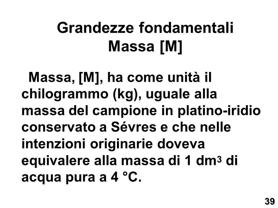 Massa, [M], ha come unità il chilogrammo (kg), uguale alla massa del campione in platino-iridio conservato a Sévres e che nelle intenzioni originarie