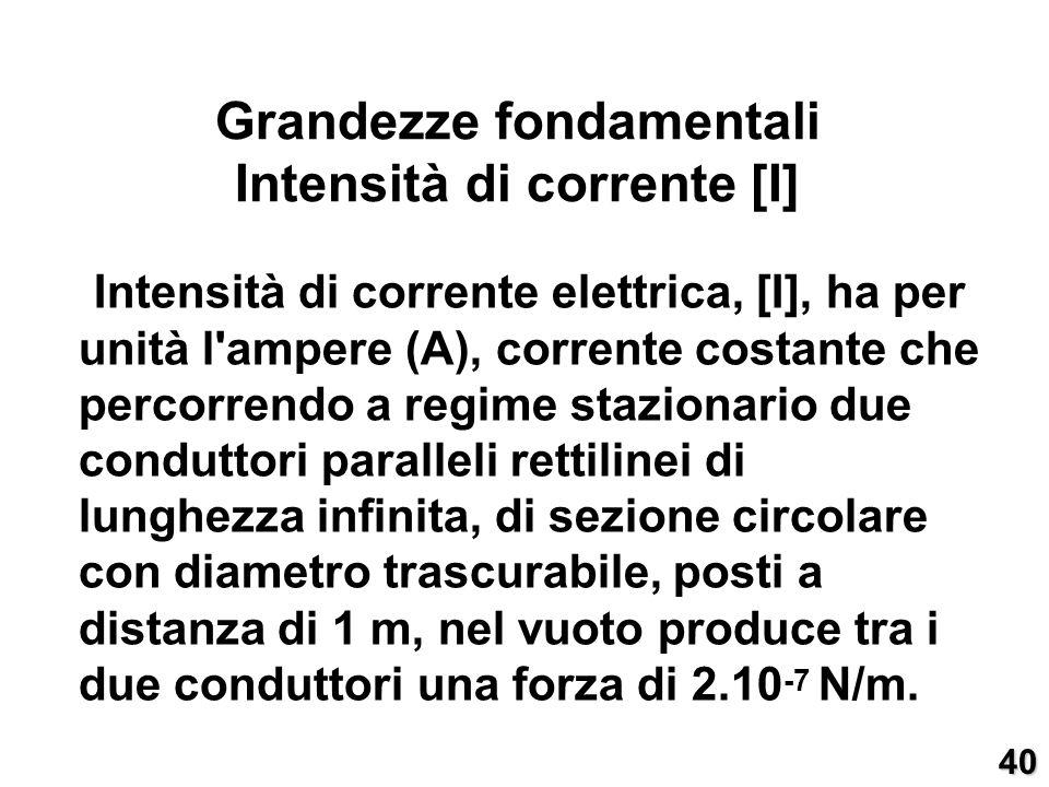 Intensità di corrente elettrica, [I], ha per unità l'ampere (A), corrente costante che percorrendo a regime stazionario due conduttori paralleli retti