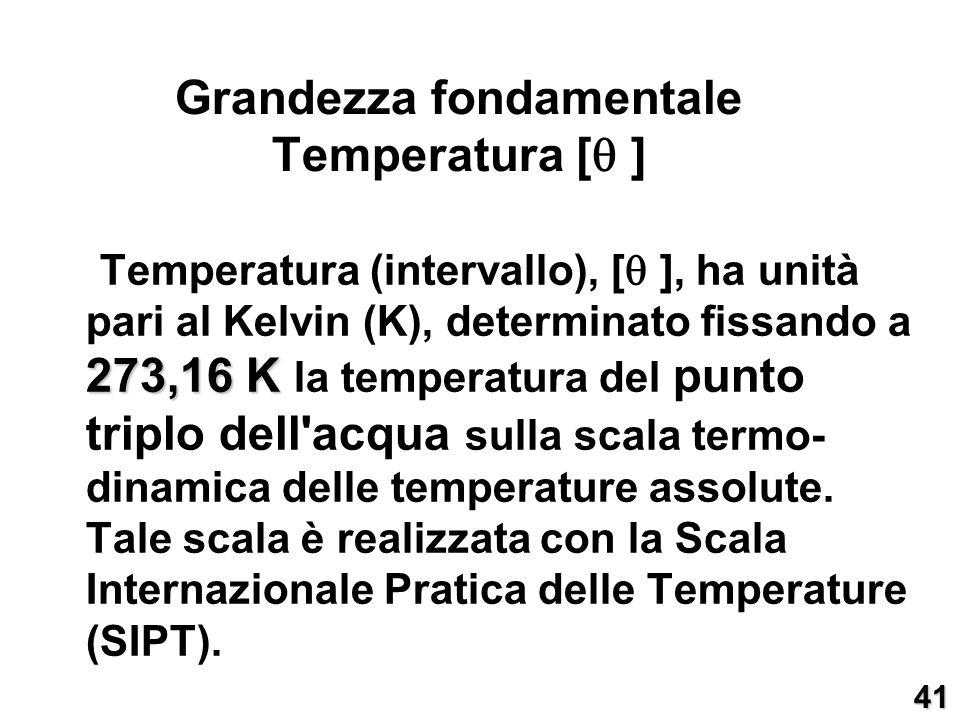 273,16 K Temperatura (intervallo), [ ], ha unità pari al Kelvin (K), determinato fissando a 273,16 K la temperatura del punto triplo dell'acqua sulla