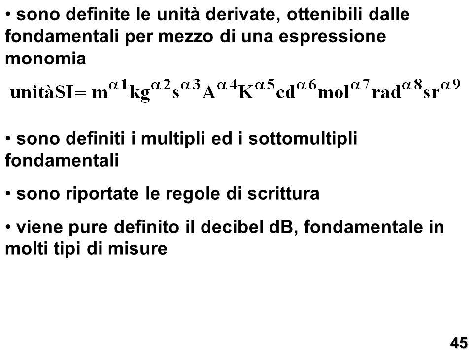 sono definite le unità derivate, ottenibili dalle fondamentali per mezzo di una espressione monomia sono definiti i multipli ed i sottomultipli fondam