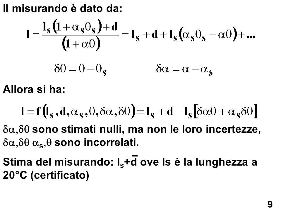 Il misurando è dato da:9 Allora si ha: sono stimati nulli, ma non le loro incertezze, s sono incorrelati. Stima del misurando: l s +d ove ls è la lung