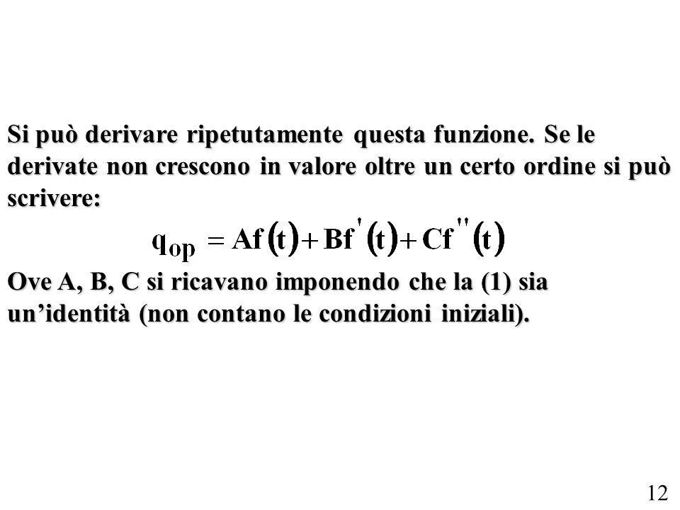 12 Si può derivare ripetutamente questa funzione. Se le derivate non crescono in valore oltre un certo ordine si può scrivere: Ove A, B, C si ricavano