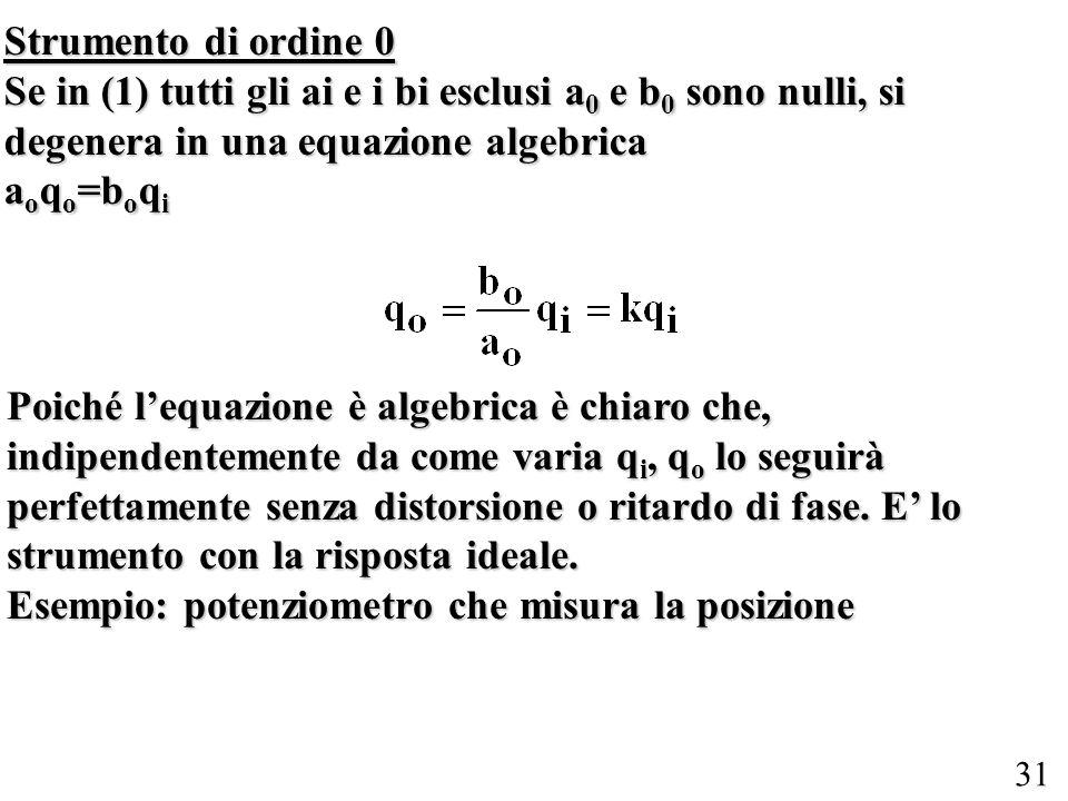 31 Strumento di ordine 0 Se in (1) tutti gli ai e i bi esclusi a 0 e b 0 sono nulli, si degenera in una equazione algebrica a o q o =b o q i Poiché le