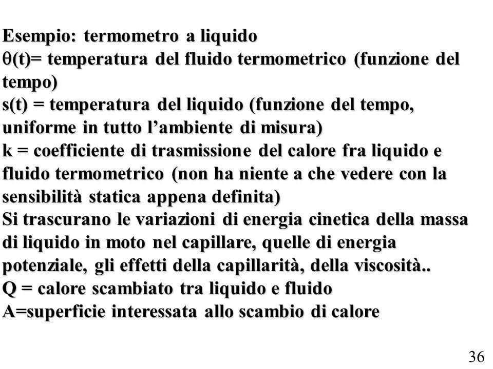 36 Esempio: termometro a liquido (t)= temperatura del fluido termometrico (funzione del tempo) (t)= temperatura del fluido termometrico (funzione del