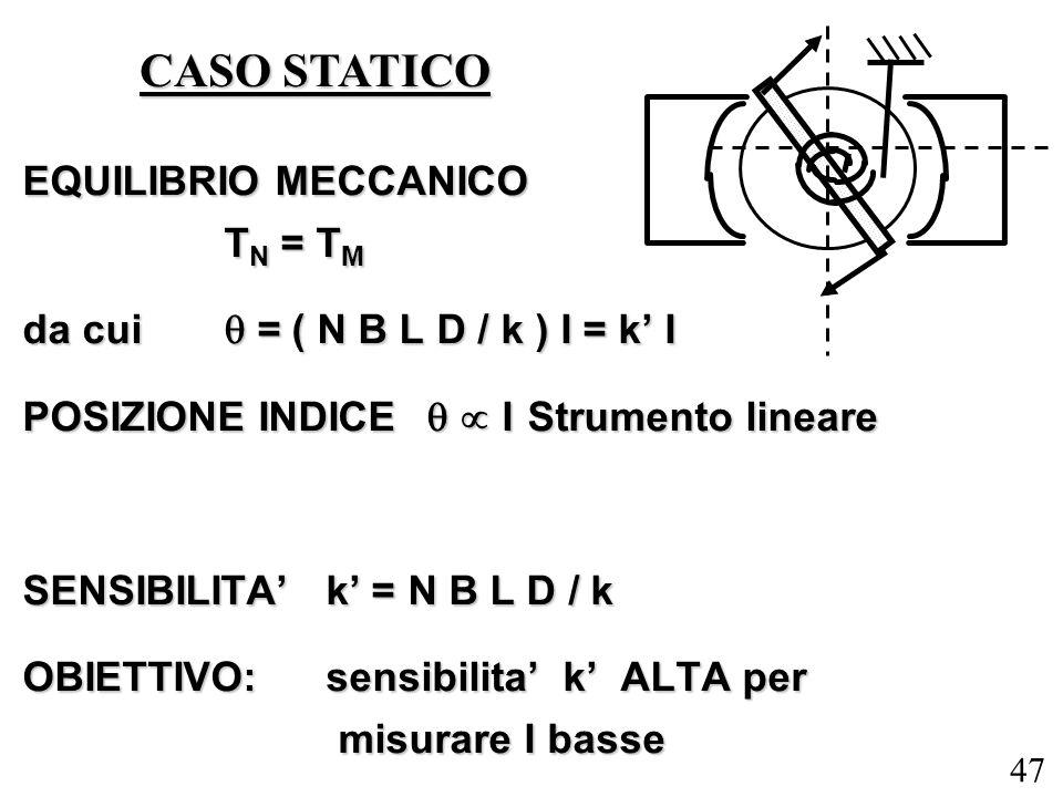47 EQUILIBRIO MECCANICO T N = T M da cui = ( N B L D / k ) I = k I POSIZIONE INDICE I Strumento lineare SENSIBILITA k = N B L D / k OBIETTIVO: sensibi
