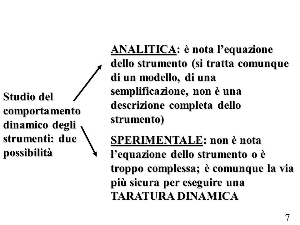 7 Studio del comportamento dinamico degli strumenti: due possibilità ANALITICA: è nota lequazione dello strumento (si tratta comunque di un modello, d