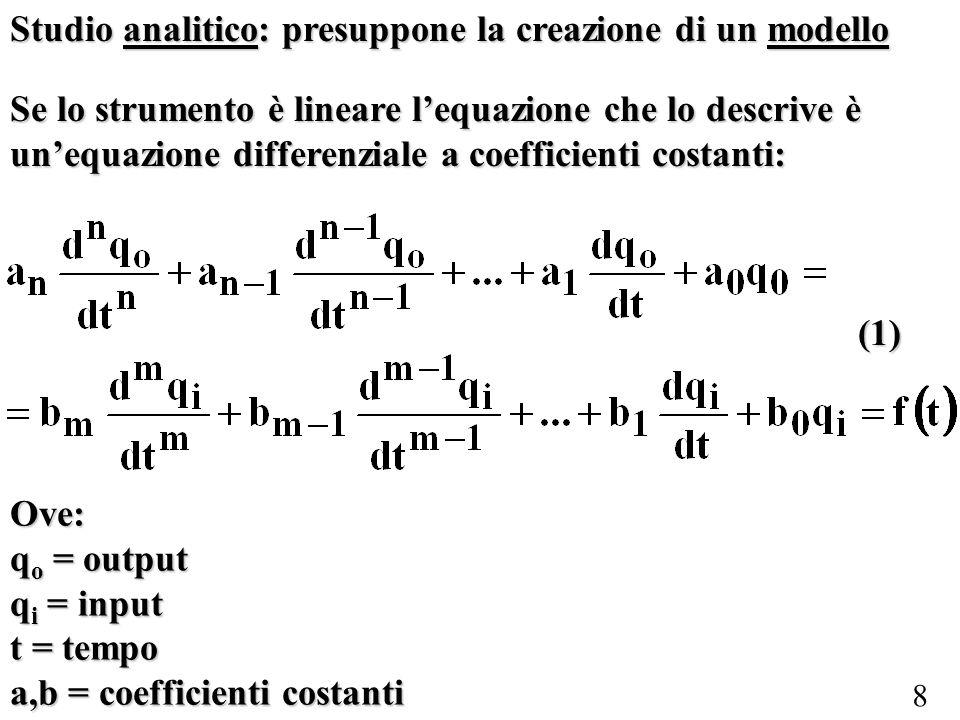 8 Se lo strumento è lineare lequazione che lo descrive è unequazione differenziale a coefficienti costanti: Ove: q o = output q i = input t = tempo a,