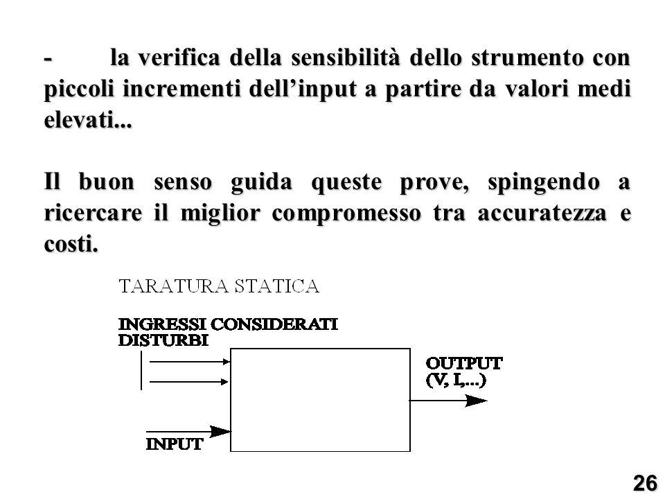 -la verifica della sensibilità dello strumento con piccoli incrementi dellinput a partire da valori medi elevati... Il buon senso guida queste prove,