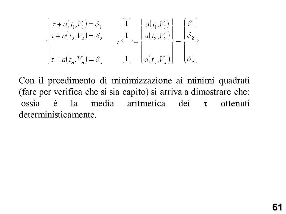 Con il prcedimento di minimizzazione ai minimi quadrati (fare per verifica che si sia capito) si arriva a dimostrare che: ossia è la media aritmetica