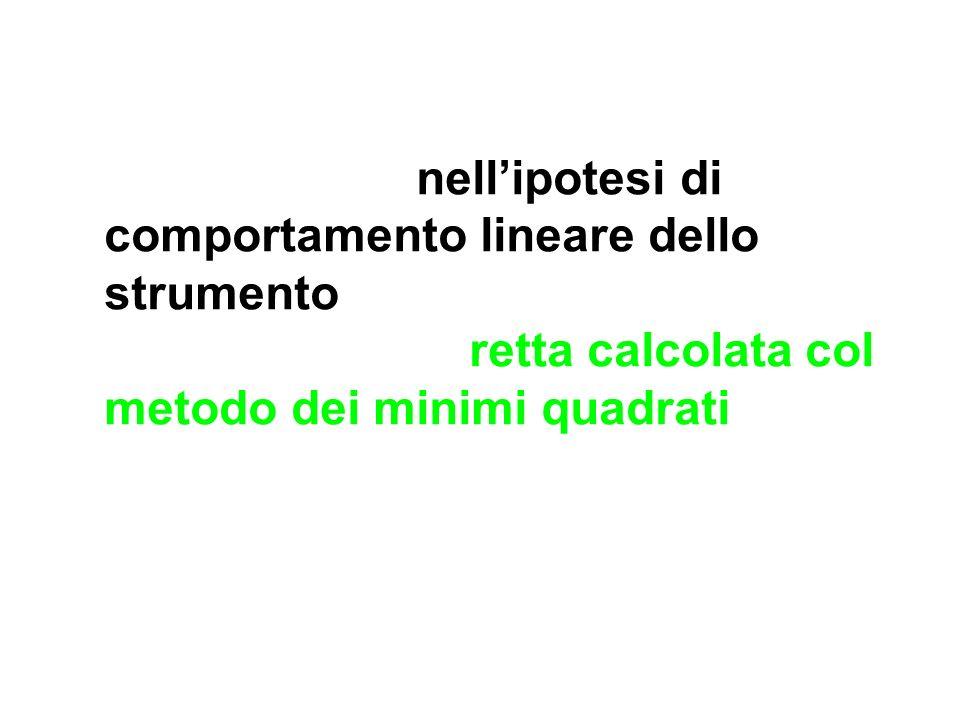 Per esempio, nellipotesi di comportamento lineare dello strumento, si può sostituire la spezzata con la retta calcolata col metodo dei minimi quadrati
