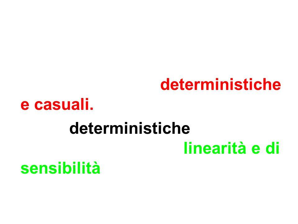 Risulta utile distinguere le diverse cause di incertezza di uno strumento in deterministiche e casuali. Fra le deterministiche possono rientrare gli e