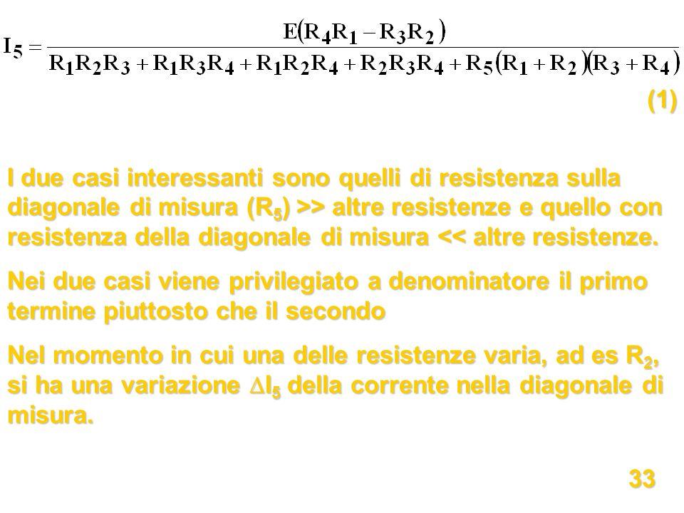I due casi interessanti sono quelli di resistenza sulla diagonale di misura (R 5 ) >> altre resistenze e quello con resistenza della diagonale di misu