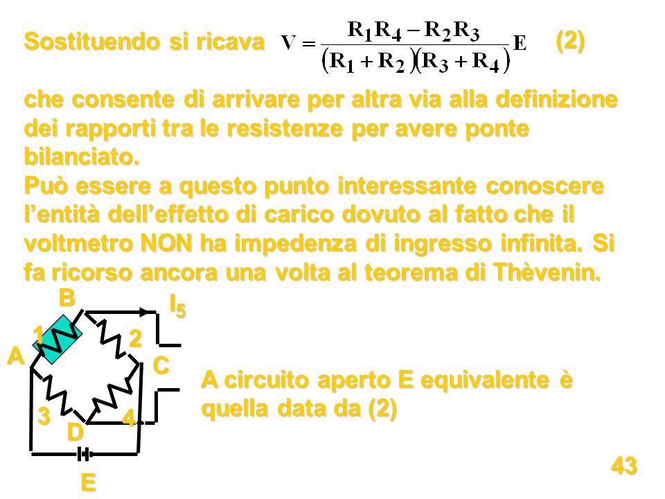 Sostituendo si ricava che consente di arrivare per altra via alla definizione dei rapporti tra le resistenze per avere ponte bilanciato. Può essere a