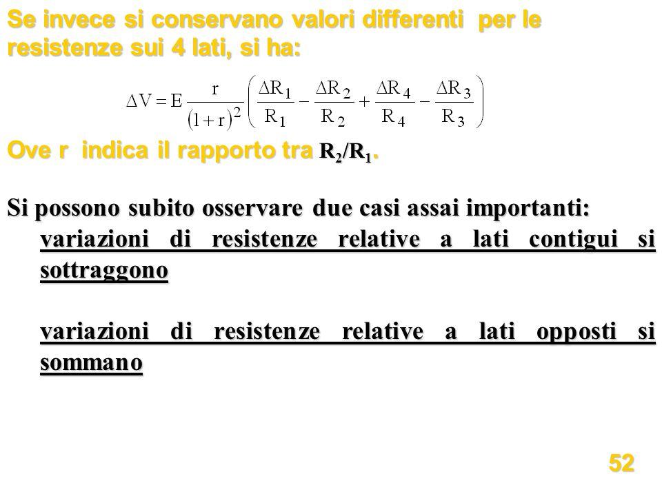 Se invece si conservano valori differenti per le resistenze sui 4 lati, si ha: Ove r indica il rapporto tra R 2 /R 1. Si possono subito osservare due