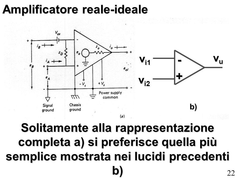 22 Amplificatore reale-ideale Solitamente alla rappresentazione completa a) si preferisce quella più semplice mostrata nei lucidi precedenti b) v i1 v