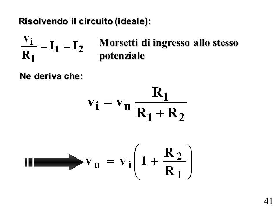 41 Risolvendo il circuito (ideale): Ne deriva che: Morsetti di ingresso allo stesso potenziale