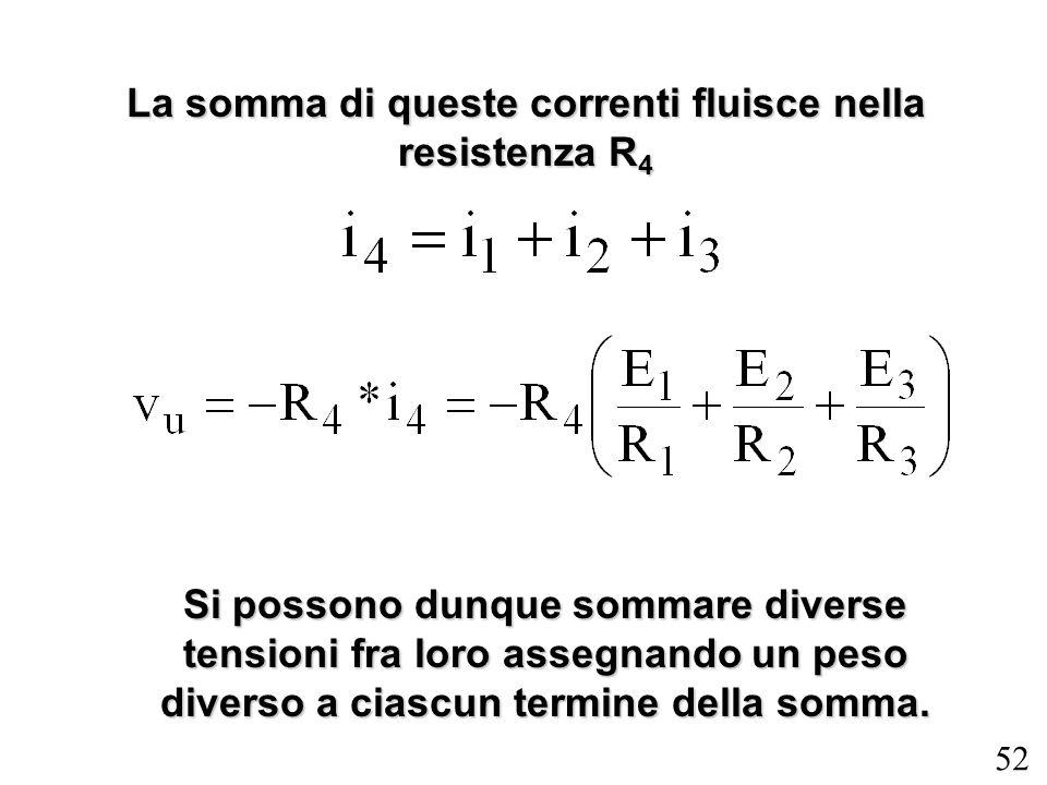 52 La somma di queste correnti fluisce nella resistenza R 4 Si possono dunque sommare diverse tensioni fra loro assegnando un peso diverso a ciascun t