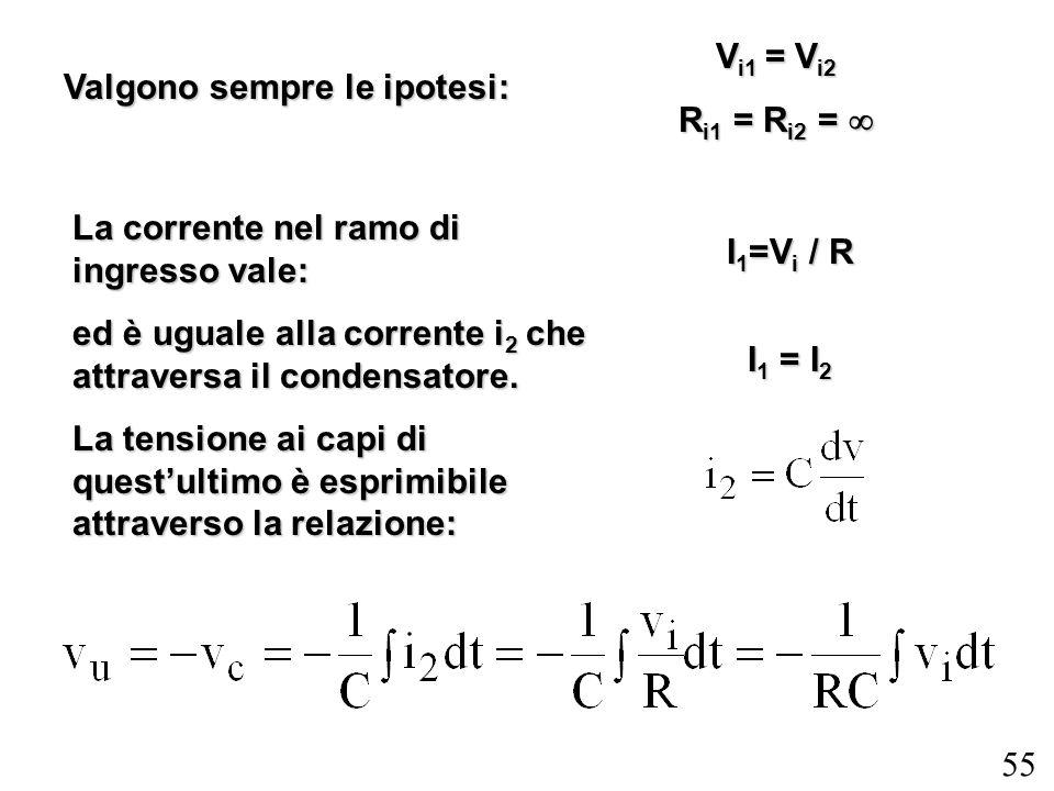 55 Valgono sempre le ipotesi: V i1 = V i2 R i1 = R i2 = R i1 = R i2 = La corrente nel ramo di ingresso vale: ed è uguale alla corrente i 2 che attrave