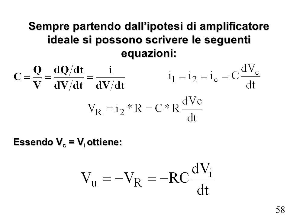 58 Sempre partendo dallipotesi di amplificatore ideale si possono scrivere le seguenti equazioni: Essendo V c = V i ottiene: