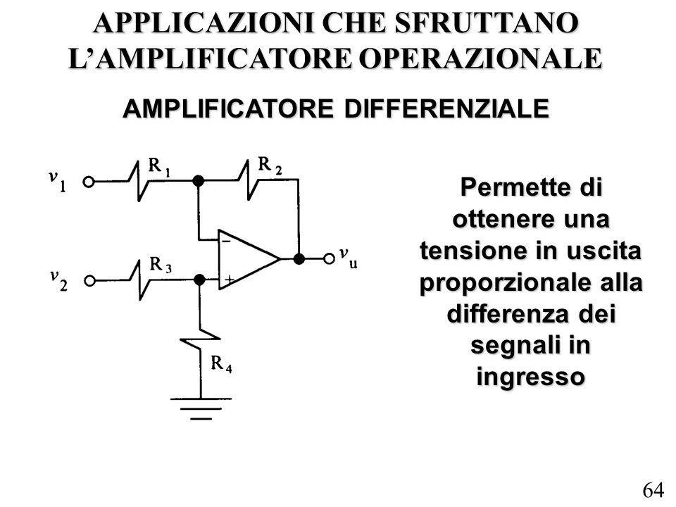 64 APPLICAZIONI CHE SFRUTTANO LAMPLIFICATORE OPERAZIONALE AMPLIFICATORE DIFFERENZIALE Permette di ottenere una tensione in uscita proporzionale alla d