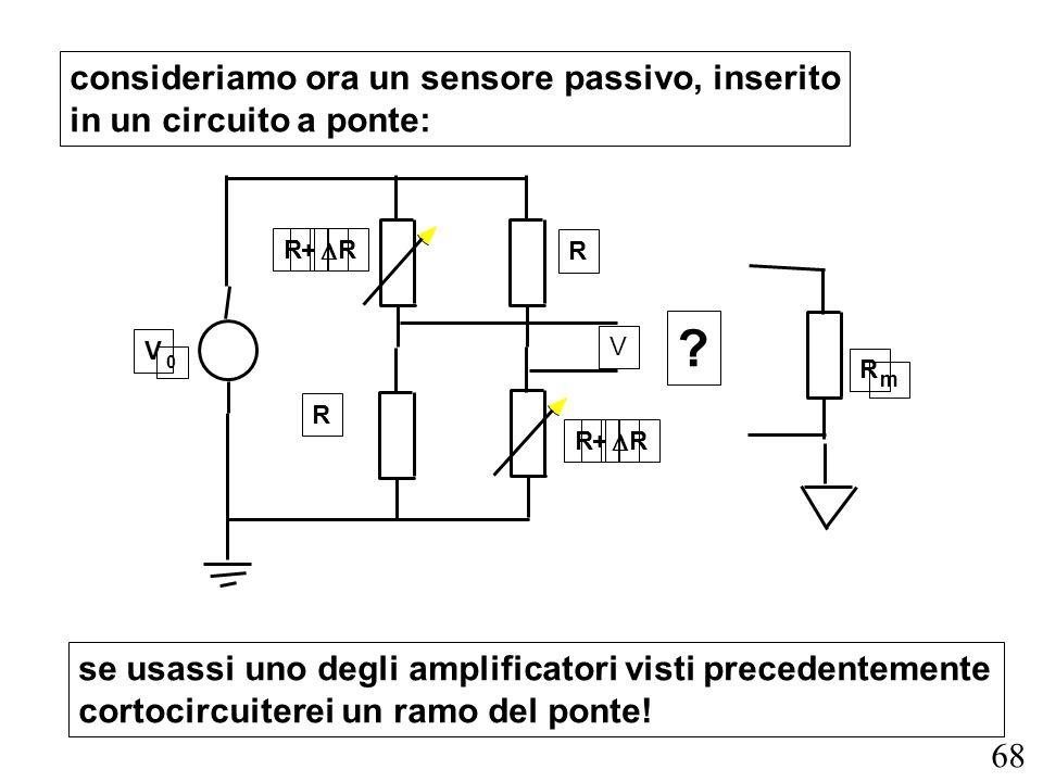 68 consideriamo ora un sensore passivo, inserito in un circuito a ponte: se usassi uno degli amplificatori visti precedentemente cortocircuiterei un r