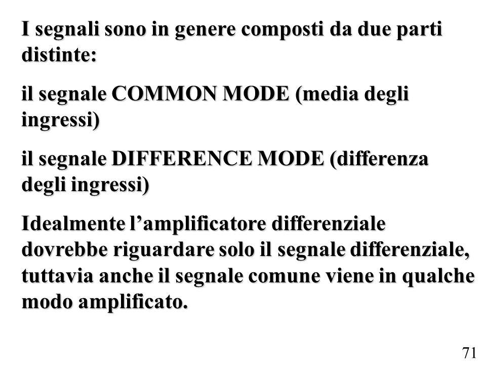 71 I segnali sono in genere composti da due parti distinte: il segnale COMMON MODE (media degli ingressi) il segnale DIFFERENCE MODE (differenza degli