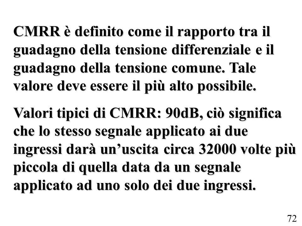 72 CMRR è definito come il rapporto tra il guadagno della tensione differenziale e il guadagno della tensione comune. Tale valore deve essere il più a