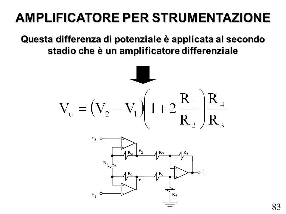 83 AMPLIFICATORE PER STRUMENTAZIONE Questa differenza di potenziale è applicata al secondo stadio che è un amplificatore differenziale