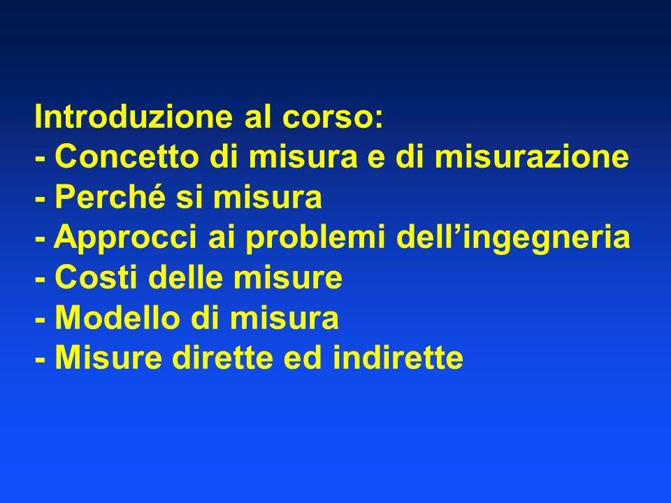 Introduzione al corso: - Concetto di misura e di misurazione - Perché si misura - Approcci ai problemi dellingegneria - Costi delle misure - Modello d