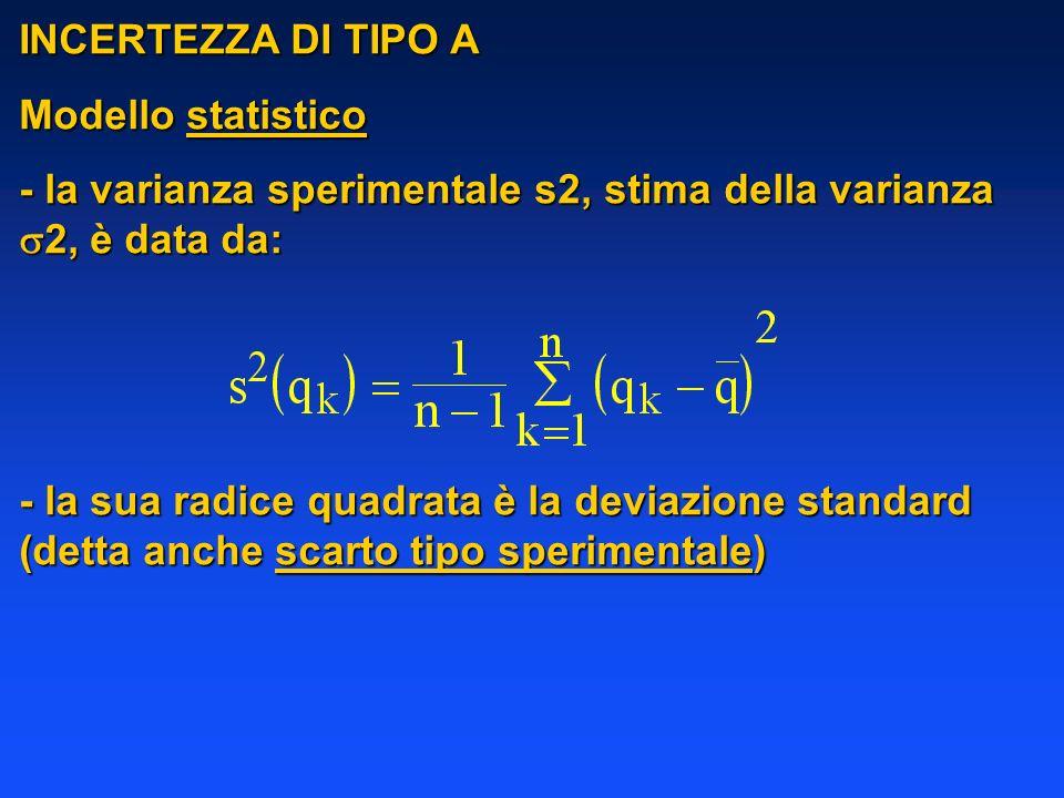 INCERTEZZA DI TIPO A Modello statistico - la varianza sperimentale s2, stima della varianza 2, è data da: - la sua radice quadrata è la deviazione sta