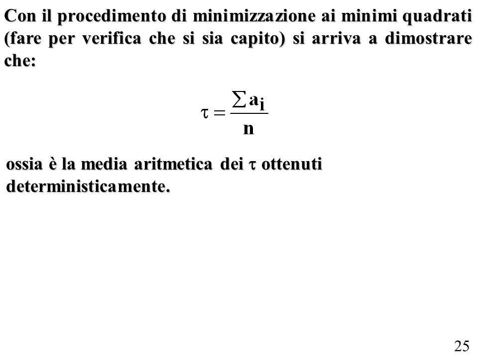 25 Con il procedimento di minimizzazione ai minimi quadrati (fare per verifica che si sia capito) si arriva a dimostrare che: ossia è la media aritmetica dei ottenuti deterministicamente.